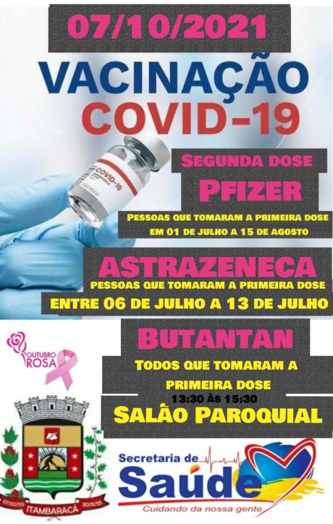 Vacinação COVID-19 - Segunda Dose Pfizer, Astrazeneca e Butantan