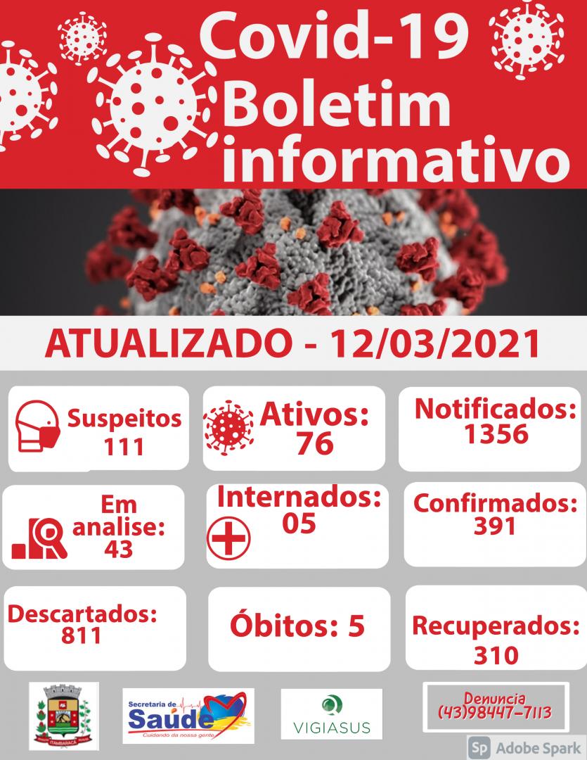 Boletim COVID-19 e Decreto Municipal do dia 12/03