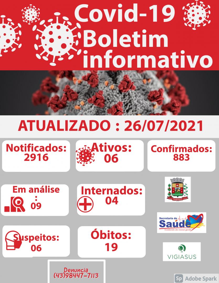 Boletim COVID-19 26/07/2021