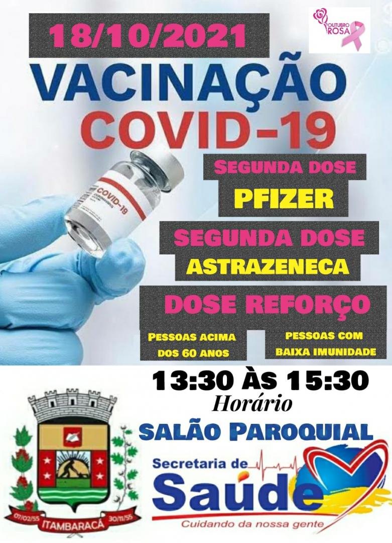 Vacinação COVID-19 - Dia 18/10 Segunda Feira
