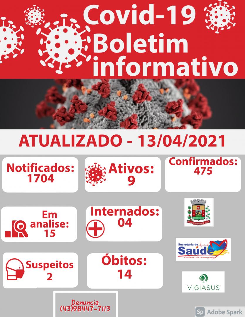 Boletim COVID-19 13/04/2021