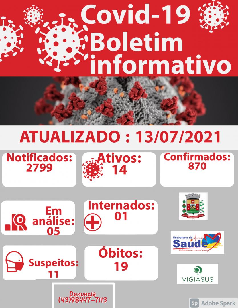 Boletim COVID-19 13/07/2021