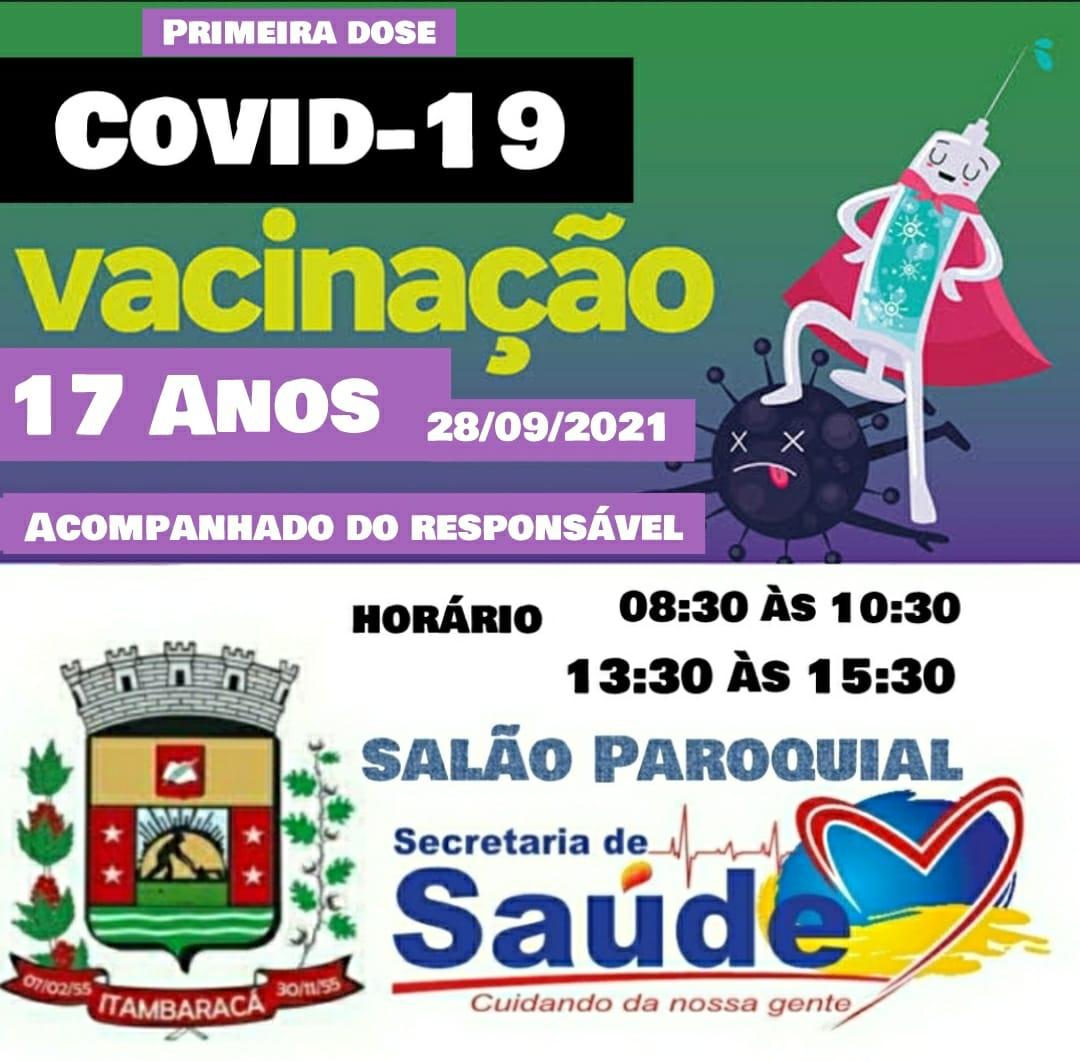 Vacinação COVID-19 - 28/09/2021 - 17 anos Acompanhado do Responsável