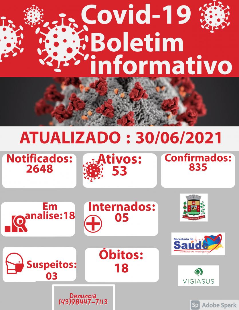 Boletim COVID-19 30/06/2021